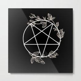 Pentagram with Plant Adornments - on black Metal Print