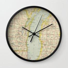Vintage Map of Lake Michigan (1883) Wall Clock