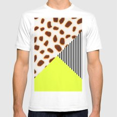 Cheetah Leo stripe and neon White MEDIUM Mens Fitted Tee