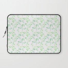 Modern hand drawn neon green watercolor white bamboo pattern Laptop Sleeve