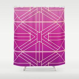 Fuchsia Pink & Rose Gold Vibrant Stripes Shower Curtain