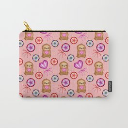 Funny happy little pink baby sloths holding pink hearts. Sweet vintage retro lollipops. Cute pattern Carry-All Pouch