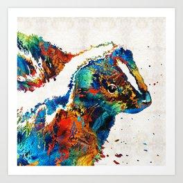 Colorful Skunk Art - Dee Stinktive - By Sharon Cummings Art Print