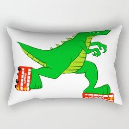 dinosaur riding roller skates. Rectangular Pillow