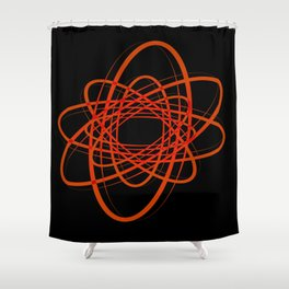 Light trails red on a black background. Set of fractals from circles and ovals for decoration. Shower Curtain