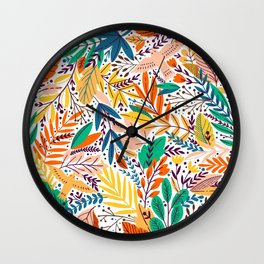 Colorful Tropical Sunshine Exotic Floral & Leaf Pattern Wall Clock
