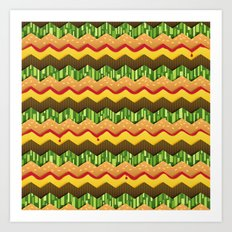 Cheeseburger Chevron Art Print