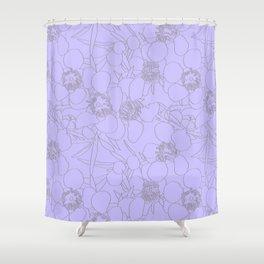 Australian Waxflower Line Floral in Lilac Shower Curtain