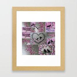 pink and grey japanese sakura inspired design designs with cherry blossom and birds bird flowers Framed Art Print