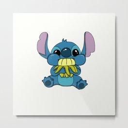 Stitch eating banana Metal Print