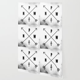 PNW Pacific Northwest Compass - Black and White Forest Wallpaper