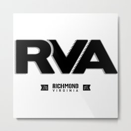 "Rva Logo - Black | "" Striped Outline "" Metal Print"