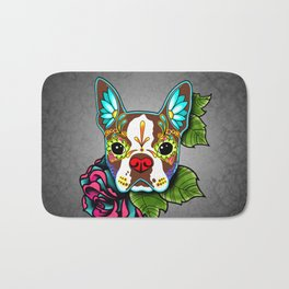 Boston Terrier in Red - Day of the Dead Sugar Skull Dog Bath Mat