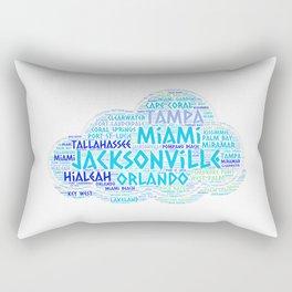 Cloud illustrated with cities of Florida State USA Rectangular Pillow