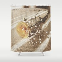 poetry Shower Curtains featuring Vintage poetry by Viviana Gonzalez