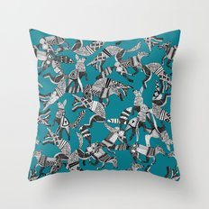 woodland fox party teal blue Throw Pillow