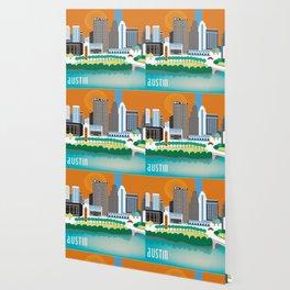 Austin, Texas - Skyline Illustration by Loose Petals Wallpaper