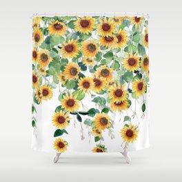 Sunflowers and Eucalyptus Garland  Shower Curtain
