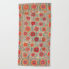 Kermina Suzani Uzbekistan Embroidery Print Beach Towel