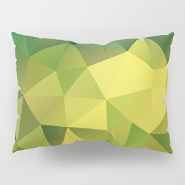 Abstract of triangles polygon in green yellow lime colors Pillow Sham