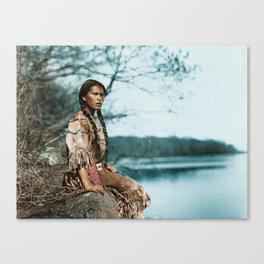 Ponemah by the Lake - Ojibwe Woman - American Indian Canvas Print