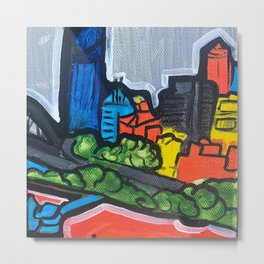Brisbane City Painting Series Metal Print