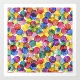 Multi-Color Watercolor Paint Dabs Pattern Art Print