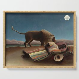The Sleeping Gypsy by Henri Rousseau Serving Tray
