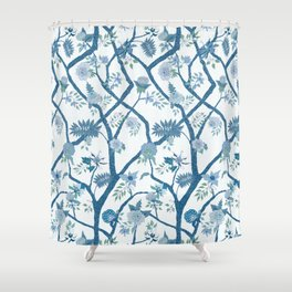 Peony Branch Chinoiserie Mural Shower Curtain