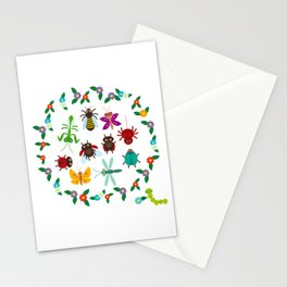 Funny insects Spider butterfly caterpillar dragonfly mantis beetle wasp ladybugs Stationery Cards