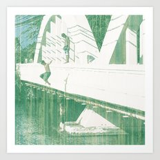 Bridge Jumping Art Print