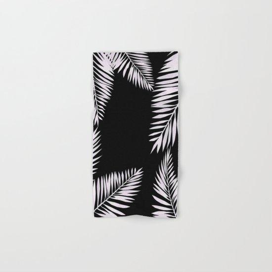 Watercolor tropical palm leaves black Hand & Bath Towel