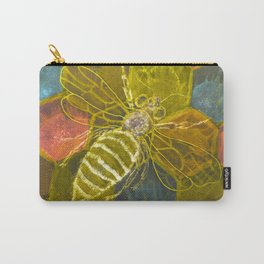 Golden bee with open wings on hexagon construction Carry-All Pouch
