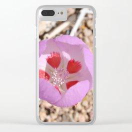 Pink Desert Five-Spot Wildflower Clear iPhone Case