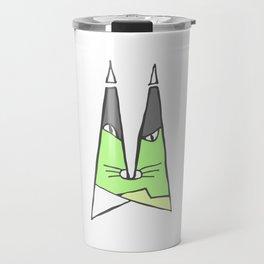 Green cat Travel Mug