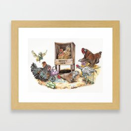 """Life in the Coop"" funny chicken watercolor Framed Art Print"