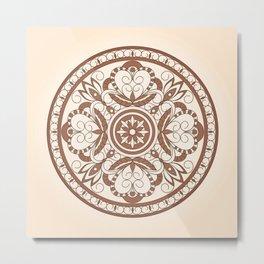 arabesque brown mandala Metal Print