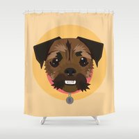 princess bubblegum Shower Curtains featuring Princess Bubblegum the Terrier Pug by Luke Clark