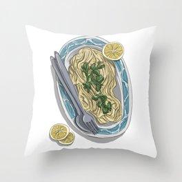 Herb tagliolini with lemon and pecorino Throw Pillow