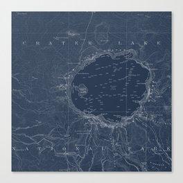 Crater Lake Blueprint Map Design Canvas Print