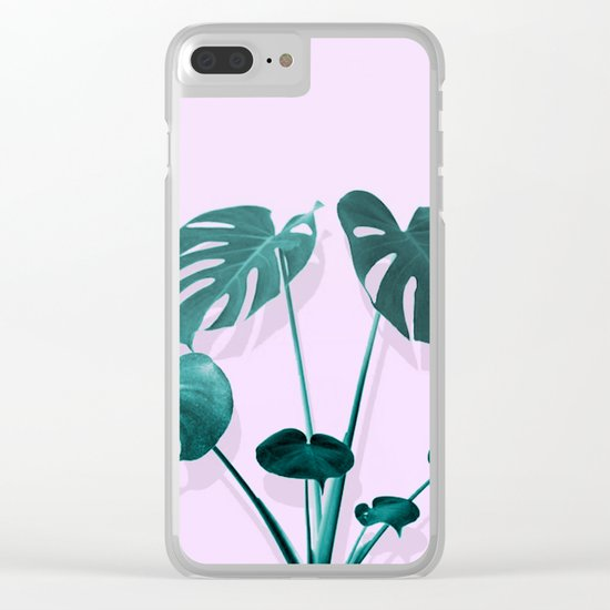 Monstera Palm on Musk Clear iPhone Case