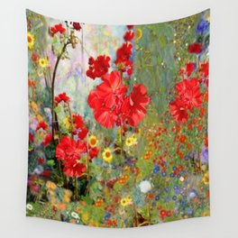 Red Geraniums in Spring Garden Landscape Painting Wall Tapestry