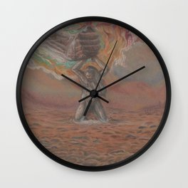 Holding the iron hand. Wall Clock