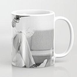 Steve McQueen sitting on Sofa with a Gun, Home Decor, wall print, gift for him, Coffee Mug