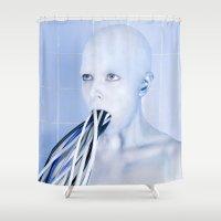 bathroom Shower Curtains featuring All-Terrain Bathroom Tiles by tracygrahamcracker