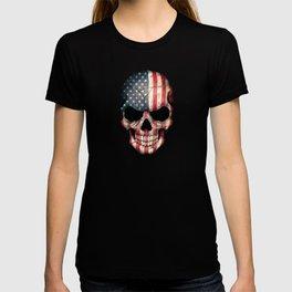 American Flag Skull on Black T-shirt