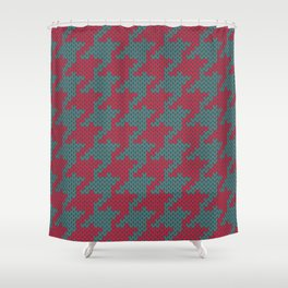 Faux knit retro houndstooth  Shower Curtain