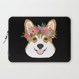 Corgi head floral crown dog breed gifts for welsh corgis Laptop Sleeve