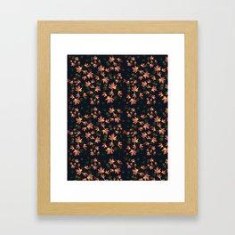 Autumn nature-Fall season, orange leaves, original pattern Framed Art Print