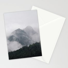Twin Mountain Peaks Foggy Misty Pine Forest Landscape Photography Stationery Cards